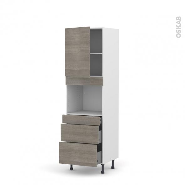 Colonne de cuisine N°2158 - Four encastrable niche 45  - STILO Noyer Naturel - 1 porte 3 tiroirs - L60 x H195 x P58 cm