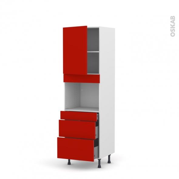 GINKO Rouge - Colonne Four niche 45 N°2158  - Prof.37  1 porte 3 tiroirs - L60xH195xP37