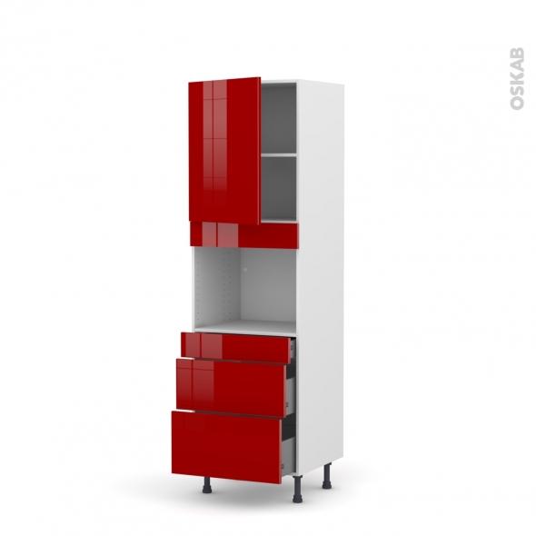 STECIA Rouge - Colonne Four niche 45 N°2158  - 1 porte 3 tiroirs - L60xH195xP58
