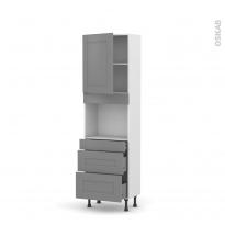 Colonne de cuisine N°2158 - Four encastrable niche 45  - FILIPEN Gris - 1 porte 3 tiroirs - L60 x H195 x P37 cm