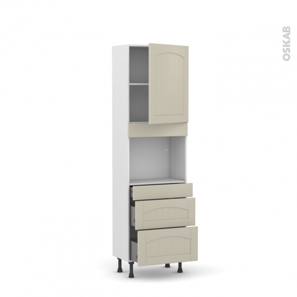SILEN Argile - Colonne Four niche 45 N°2158  - Prof.37  1 porte 3 tiroirs - L60xH195xP37 - droite