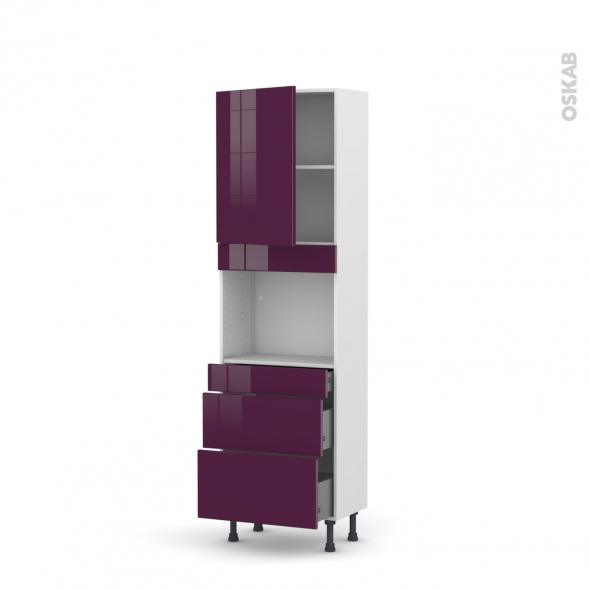 Colonne de cuisine N°2158 - Four encastrable niche 45 - KERIA Aubergine - 1 porte 3 tiroirs - L60 x H195 x P37 cm