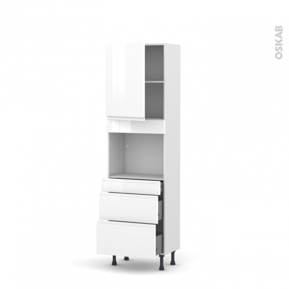 Colonne de cuisine N°2158 - Four encastrable niche 45  - IPOMA Blanc - 1 porte 3 tiroirs - L60 x H195 x P37 cm