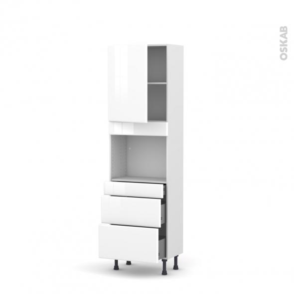 Colonne de cuisine N°2158 - Four encastrable niche 45  - IRIS Blanc - 1 porte 3 tiroirs - L60 x H195 x P37 cm