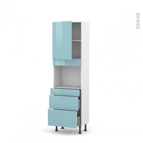 Colonne de cuisine N°2158 - Four encastrable niche 45  - KERIA Bleu - 1 porte 3 tiroirs - L60 x H195 x P37 cm