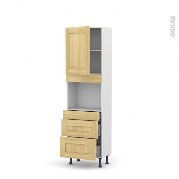 BASILIT Bois Brut - Colonne Four niche 45 N°2158  - Prof.37  1 porte 3 tiroirs - L60xH195xP37