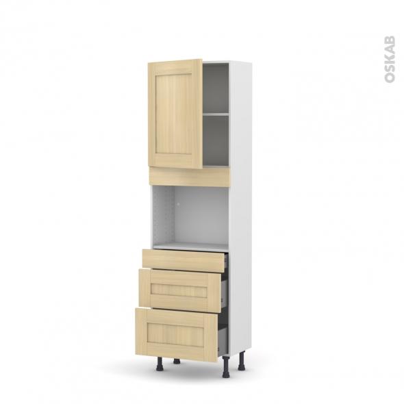 BASILIT Bois Vernis - Colonne Four niche 45 N°2158  - Prof.37  1 porte 3 tiroirs - L60xH195xP37