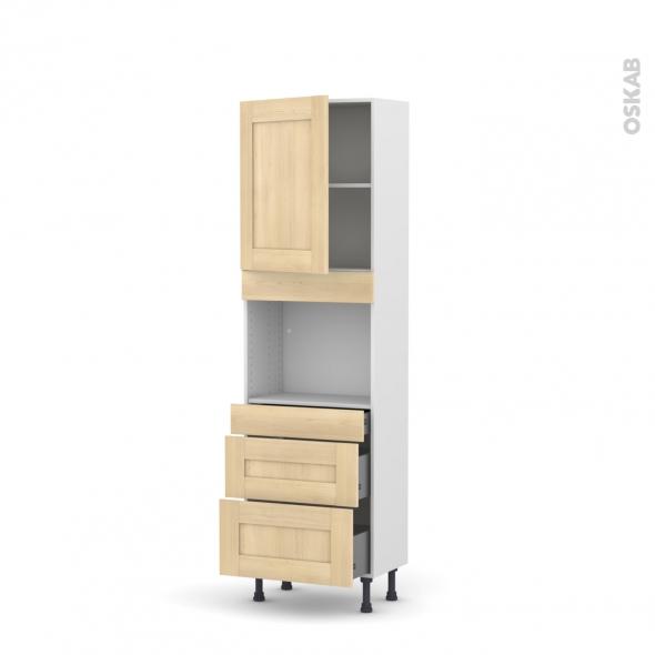 BETULA Bouleau - Colonne Four niche 45 N°2158  - Prof.37  1 porte 3 tiroirs - L60xH195xP37
