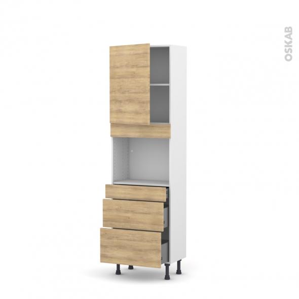 Colonne de cuisine N°2158 - Four encastrable niche 45  - HOSTA Chêne naturel - 1 porte 3 tiroirs - L60 x H195 x P37 cm