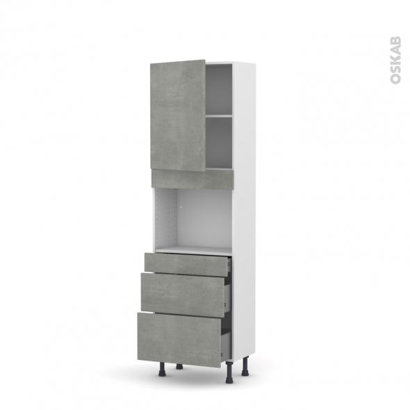 FAKTO Béton - Colonne Four niche 45 N°2158  - Prof.37  1 porte 3 tiroirs - L60xH195xP37