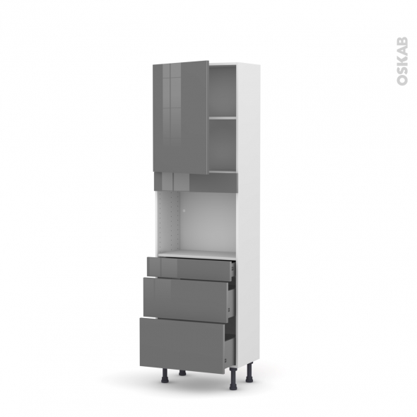Colonne de cuisine N°2158 - Four encastrable niche 45  - STECIA Gris - 1 porte 3 tiroirs - L60 x H195 x P37 cm