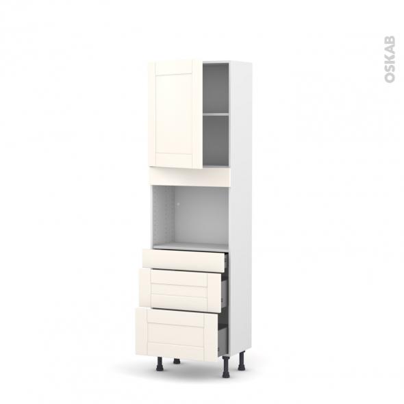 Colonne de cuisine N°2158 - Four encastrable niche 45  - FILIPEN Ivoire - 1 porte 3 tiroirs - L60 x H195 x P37 cm
