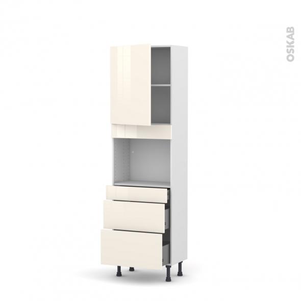 Colonne de cuisine N°2158 - Four encastrable niche 45  - KERIA Ivoire - 1 porte 3 tiroirs - L60 x H195 x P37 cm