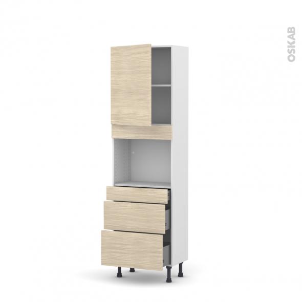 Colonne de cuisine N°2158 - Four encastrable niche 45  - STILO Noyer Blanchi - 1 porte 3 tiroirs - L60 x H195 x P37 cm