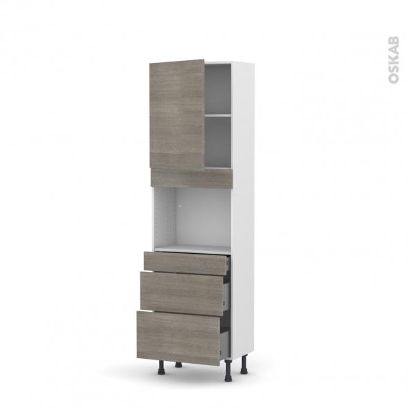 Colonne de cuisine N°2158 - Four encastrable niche 45  - STILO Noyer Naturel - 1 porte 3 tiroirs - L60 x H195 x P37 cm