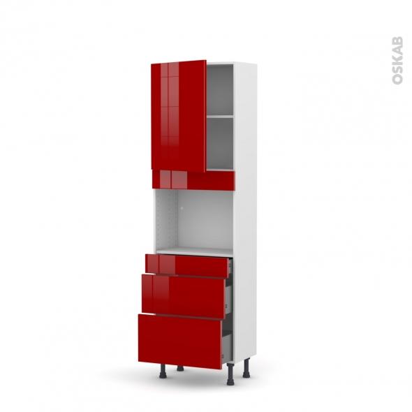 STECIA Rouge - Colonne Four niche 45 N°2158  - Prof.37  1 porte 3 tiroirs - L60xH195xP37
