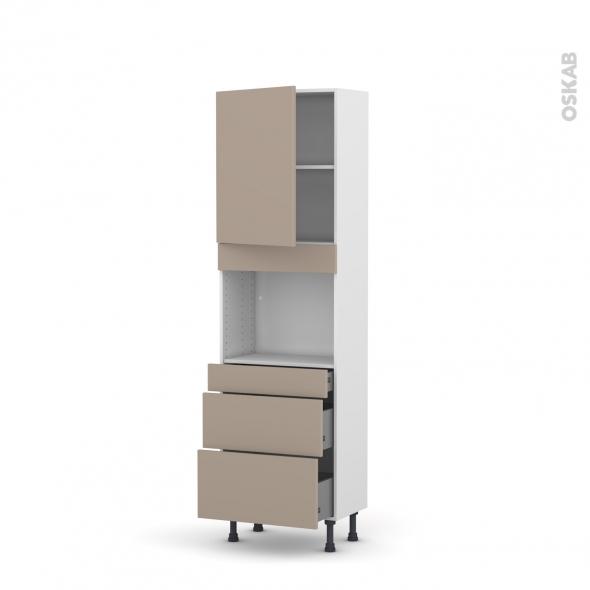 Colonne de cuisine N°2158 - Four encastrable niche 45 - GINKO Taupe - 1 porte 3 tiroirs - L60 x H195 x P37 cm