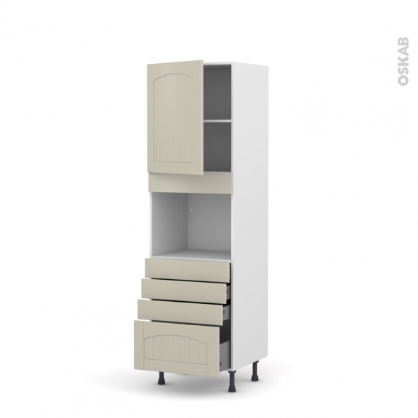 SILEN Argile - Colonne Four niche 45 N°2159  - 1 porte 4 tiroirs - L60xH195xP58 - gauche
