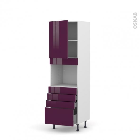 Colonne de cuisine N°2159 - Four encastrable niche 45 - KERIA Aubergine - 1 porte 4 tiroirs - L60 x H195 x P58 cm