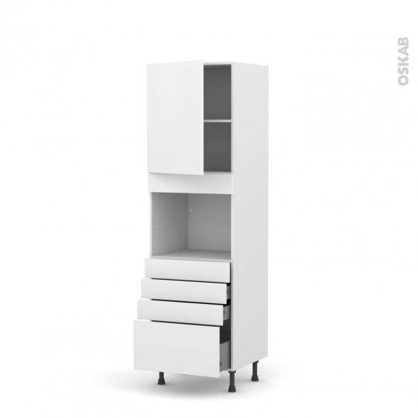 Colonne de cuisine N°2159 - Four encastrable niche 45  - GINKO Blanc - 1 porte 4 tiroirs - L60 x H195 x P58 cm
