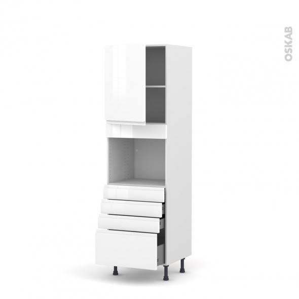 Colonne de cuisine N°2159 - Four encastrable niche 45  - IPOMA Blanc brillant - 1 porte 4 tiroirs - L60 x H195 x P58 cm