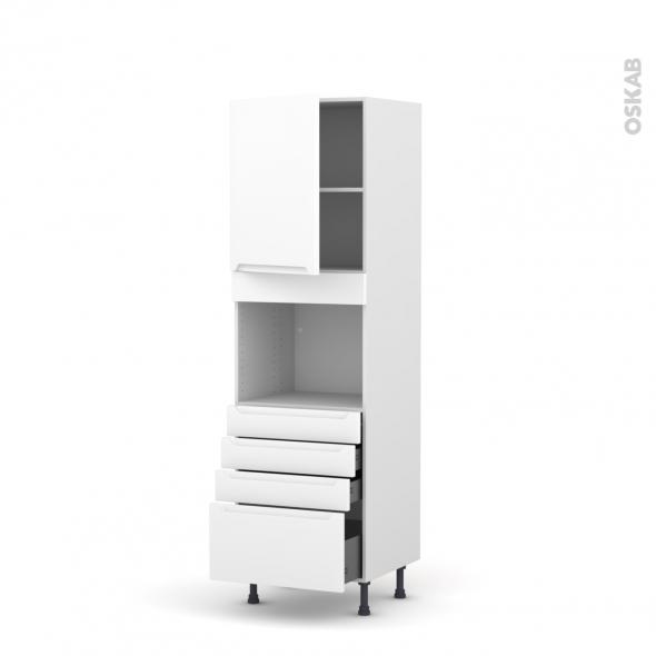 Colonne de cuisine N°2159 - Four encastrable niche 45  - PIMA Blanc - 1 porte 4 tiroirs - L60 x H195 x P58 cm