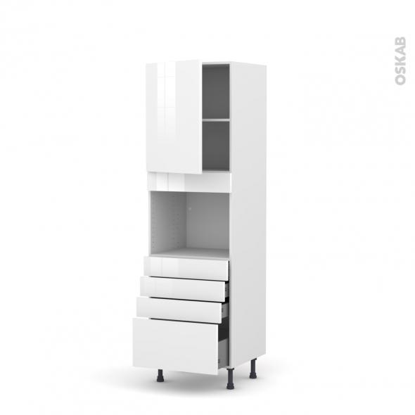Colonne de cuisine N°2159 - Four encastrable niche 45  - STECIA Blanc - 1 porte 4 tiroirs - L60 x H195 x P58 cm