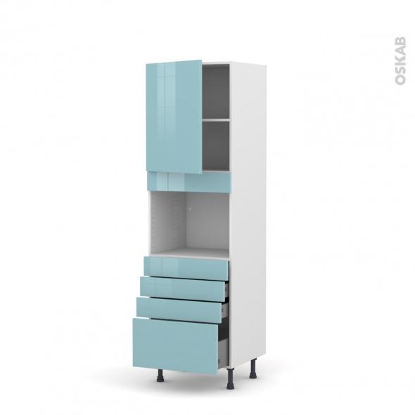 Colonne de cuisine N°2159 - Four encastrable niche 45  - KERIA Bleu - 1 porte 4 tiroirs - L60 x H195 x P58 cm