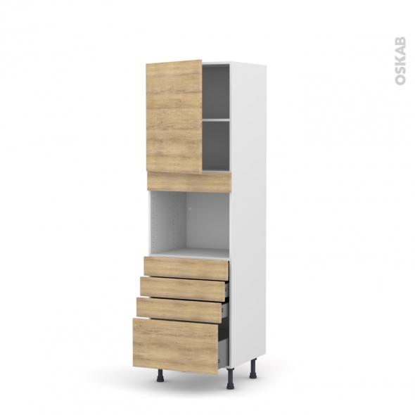 Colonne de cuisine N°2159 - Four encastrable niche 45  - HOSTA Chêne naturel - 1 porte 4 tiroirs - L60 x H195 x P58 cm
