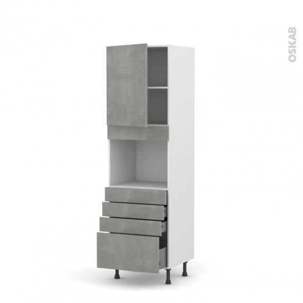 Colonne de cuisine N°2159 - Four encastrable niche 45  - FAKTO Béton - 1 porte 4 tiroirs - L60 x H195 x P58 cm