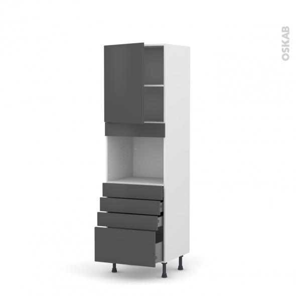 Colonne de cuisine N°2159 - Four encastrable niche 45  - GINKO Gris - 1 porte 4 tiroirs - L60 x H195 x P58 cm