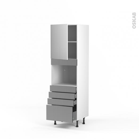 STILO Inox - Colonne Four niche 45 N°2159  - 1 porte 4 tiroirs - L60xH195xP58