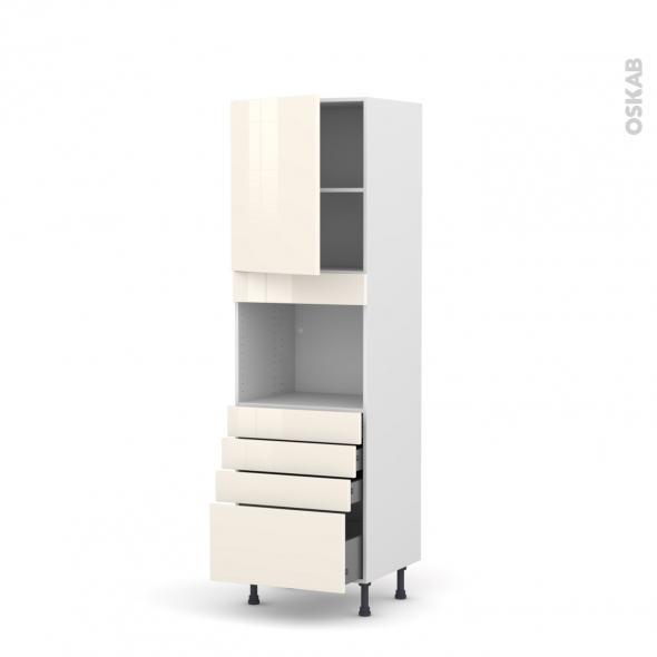 Colonne de cuisine N°2159 - Four encastrable niche 45  - KERIA Ivoire - 1 porte 4 tiroirs - L60 x H195 x P58 cm