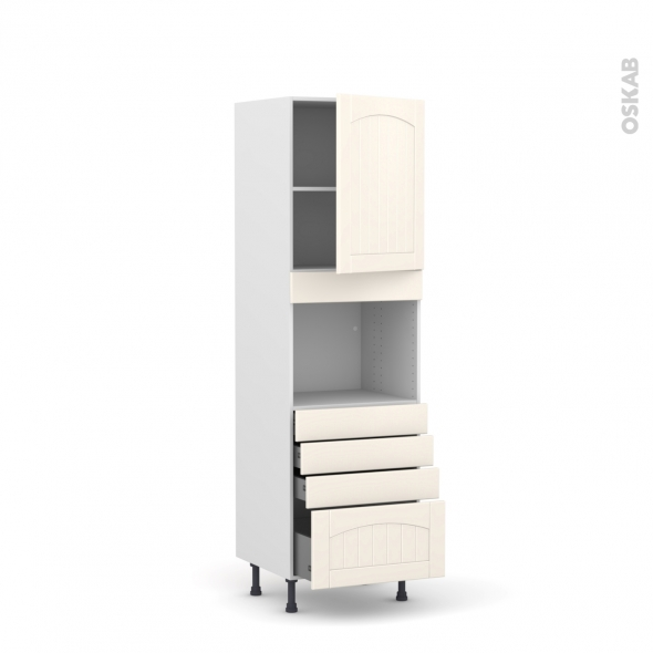 SILEN Ivoire - Colonne Four niche 45 N°2159  - 1 porte 4 tiroirs - L60xH195xP58 - droite
