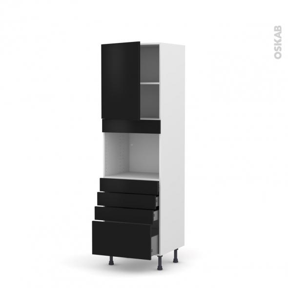 GINKO Noir - Colonne Four niche 45 N°2159  - 1 porte 4 tiroirs - L60xH195xP58