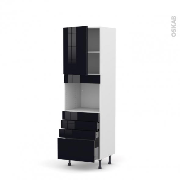 KERIA Noir - Colonne Four niche 45 N°2159  - 1 porte 4 tiroirs - L60xH195xP58