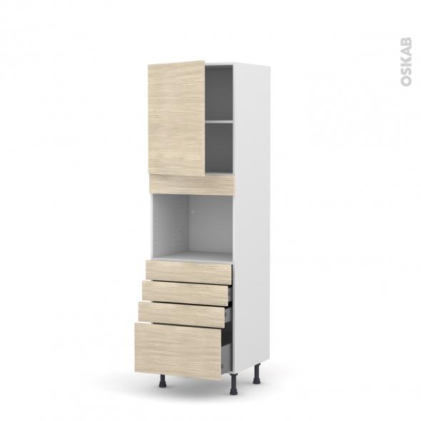 Colonne de cuisine N°2159 - Four encastrable niche 45  - STILO Noyer Blanchi - 1 porte 4 tiroirs - L60 x H195 x P58 cm
