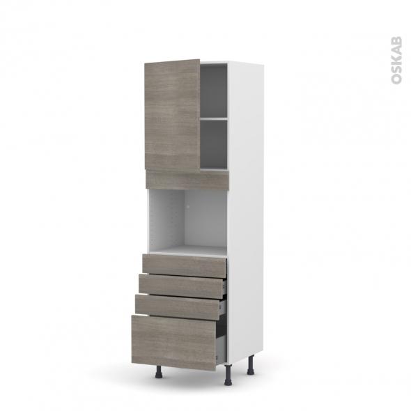 Colonne de cuisine N°2159 - Four encastrable niche 45  - STILO Noyer Naturel - 1 porte 4 tiroirs - L60 x H195 x P58 cm