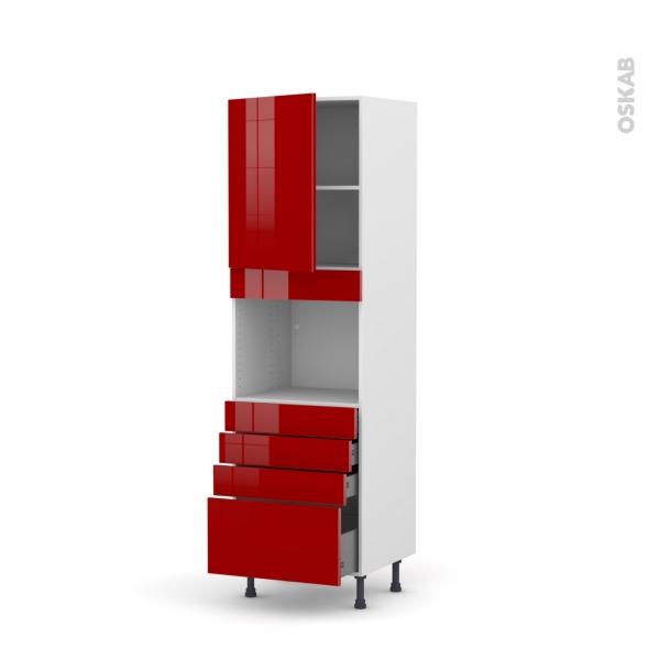 Colonne de cuisine N°2159 - Four encastrable niche 45  - STECIA Rouge - 1 porte 4 tiroirs - L60 x H195 x P58 cm