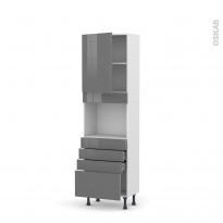 Colonne de cuisine N°2159 - Four encastrable niche 45  - STECIA Gris - 1 porte 4 tiroirs - L60 x H195 x P37 cm