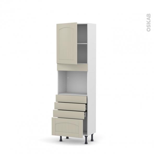 SILEN Argile - Colonne Four niche 45 N°2159  - Prof.37  1 porte 4 tiroirs - L60xH195xP37 - gauche