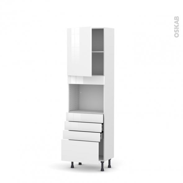 Colonne de cuisine N°2159 - Four encastrable niche 45  - STECIA Blanc - 1 porte 4 tiroirs - L60 x H195 x P37 cm