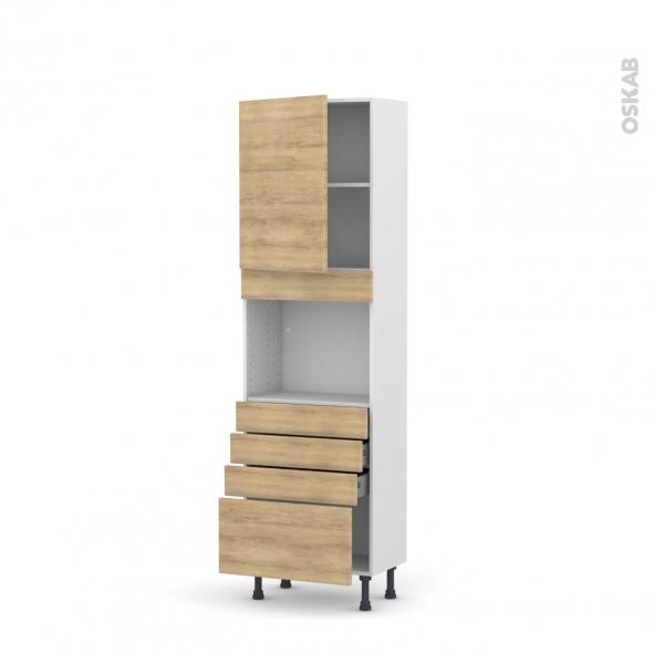 Colonne de cuisine N°2159 - Four encastrable niche 45  - HOSTA Chêne naturel - 1 porte 4 tiroirs - L60 x H195 x P37 cm