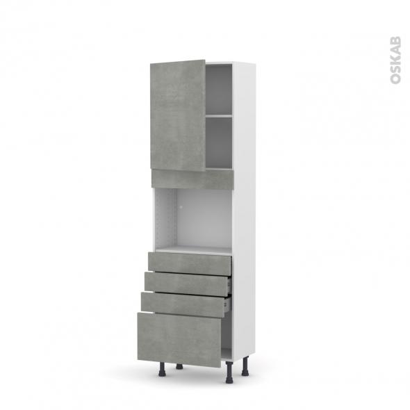 Colonne de cuisine N°2159 - Four encastrable niche 45  - FAKTO Béton - 1 porte 4 tiroirs - L60 x H195 x P37 cm