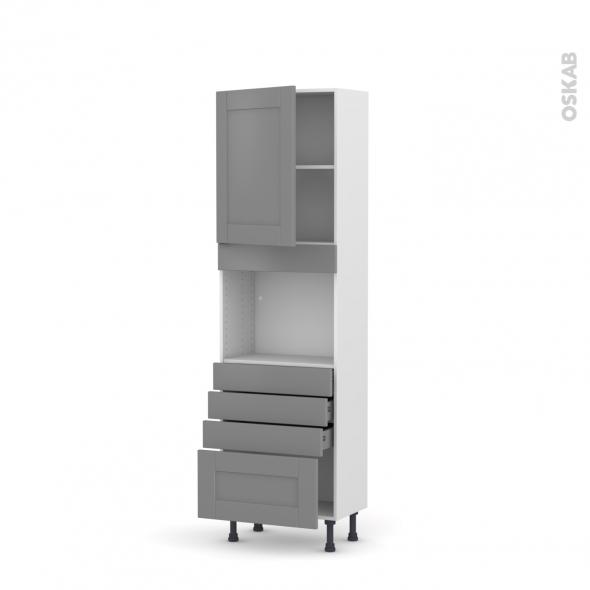 Colonne de cuisine N°2159 - Four encastrable niche 45  - FILIPEN Gris - 1 porte 4 tiroirs - L60 x H195 x P37 cm
