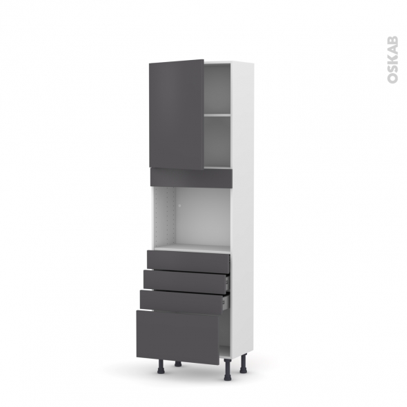 Colonne de cuisine N°2159 - Four encastrable niche 45  - GINKO Gris - 1 porte 4 tiroirs - L60 x H195 x P37 cm