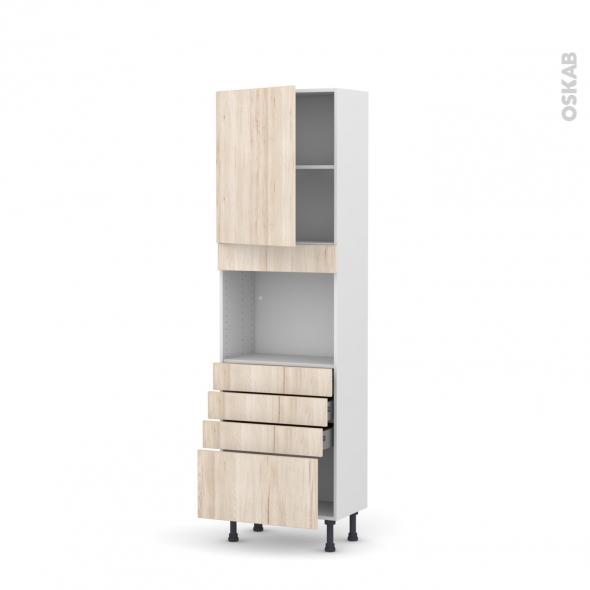 Colonne de cuisine N°2159 - Four encastrable niche 45  - IKORO Chêne clair - 1 porte 4 tiroirs - L60 x H195 x P37 cm