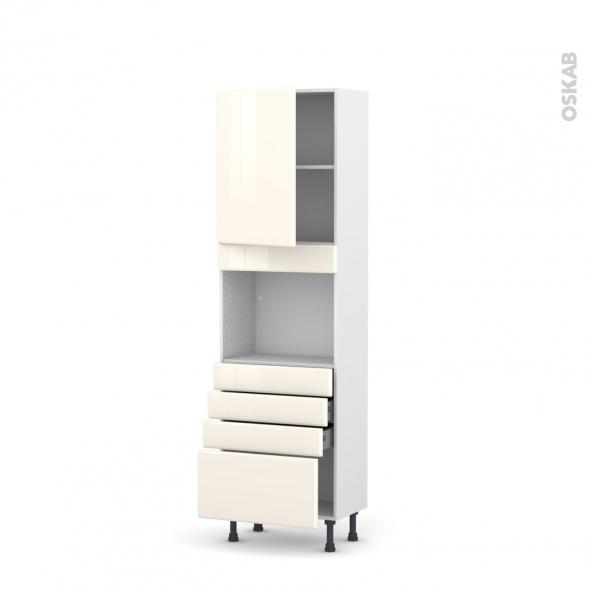 IRIS Ivoire - Colonne Four niche 45 N°2159  - Prof.37  1 porte 4 tiroirs - L60xH195xP37