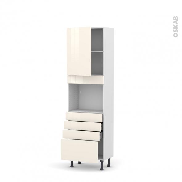 KERIA Ivoire - Colonne Four niche 45 N°2159  - Prof.37  1 porte 4 tiroirs - L60xH195xP37