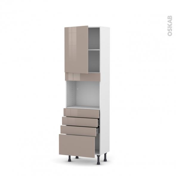 Colonne de cuisine N°2159 - Four encastrable niche 45  - KERIA Moka - 1 porte 4 tiroirs - L60 x H195 x P37 cm